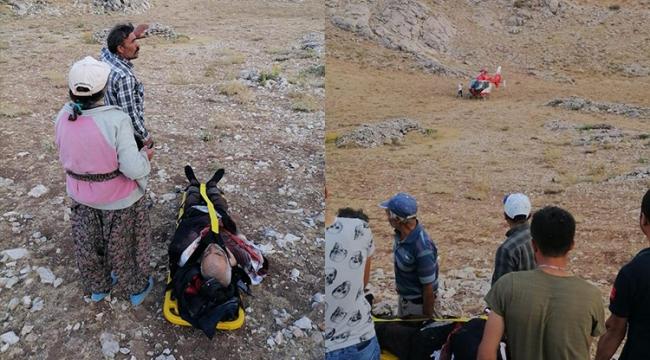 Hava Ambulansı yaralanan çoban için havalandı